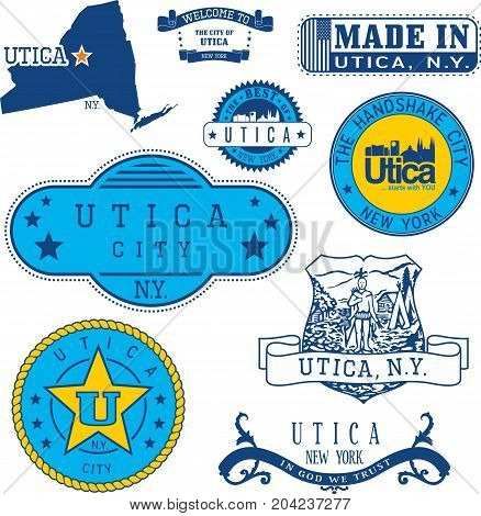 Set Of Generic Stamps And Signs Of Utica, Ny