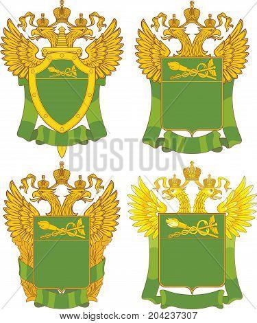 Set Of Generic Russian Customs Emblem Templates