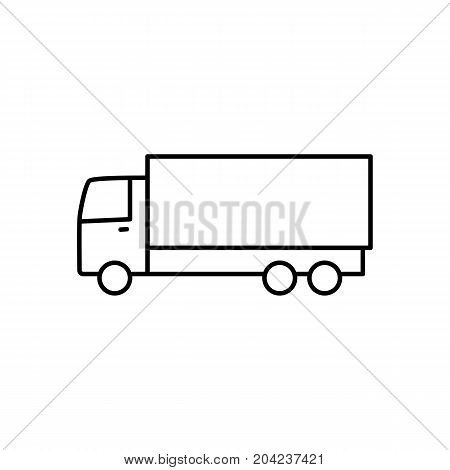 thin line truck icon on white background