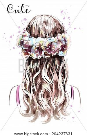 Hand drawn long hair girl in flower wreath. Brown hair. Cute curly hairstyle. Sketch. Vector illustration.