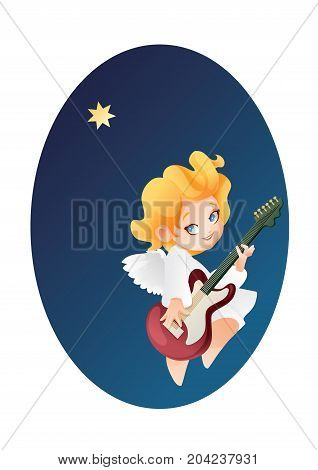 Christmas background design with guitarist angel musician. Happy smiling cute cartoon kid play music on guitar to star flying on a night sky. Good siut for card, music collection box cover