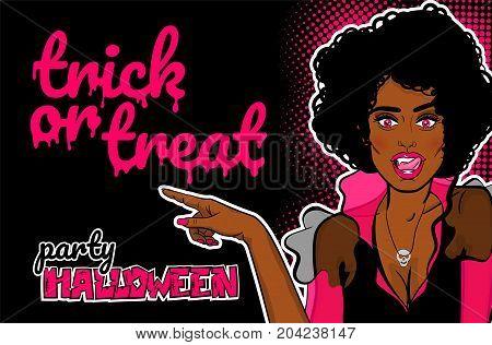 Halloween evil vampire sexy woman Pop art character cartoon comic book text. Wow face poster party. Vector dracula skull vintage retro halftone dot illustration invitation. Trick or treat.