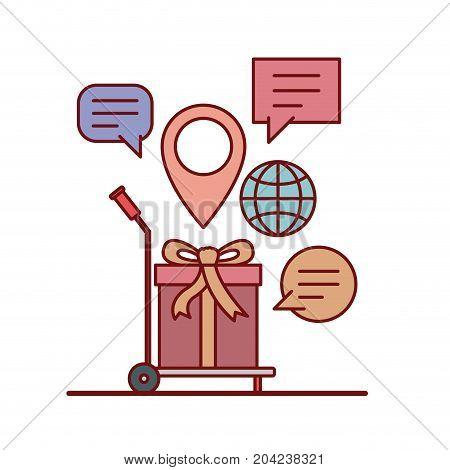 gift in freight carrier e-commerce shop online on white background vector illustration