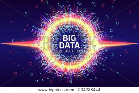 Big Data Visualization. Fractal Element With Lines And Dots Array. Big Data Complex. Data Array Visu