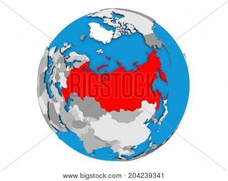 Russia On Globe Isolated