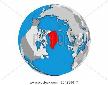 Greenland On Globe Isolated