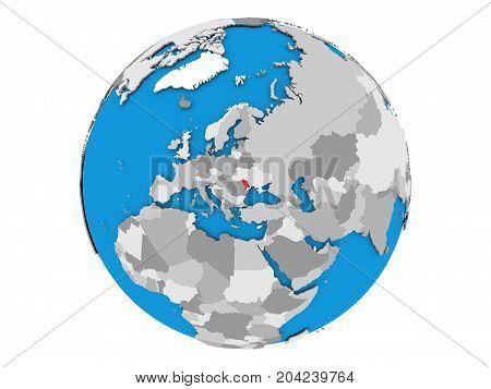 Moldova On Globe Isolated