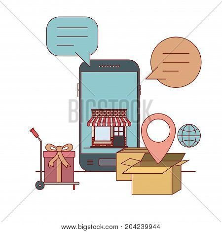 smartphone with wallpaper inside of store house and freight cart with gift e-commerce shop online on white background vector illustration