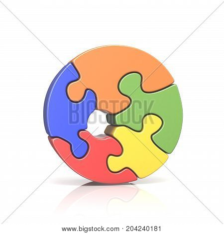 Puzzle Jigsaw Number Zero 0 3D