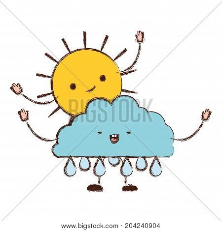 clouds with rain and sun kawaii caricature in blurred color silhouette vector illustration
