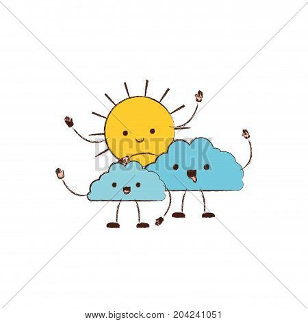 clouds with sun kawaii caricature in blurred color silhouette vector illustration
