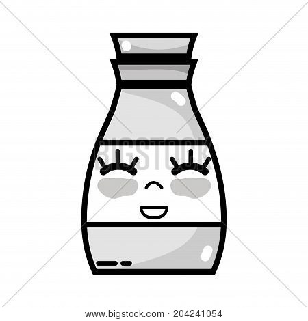 grayscale kawaii cute happy beverage bottle vector illustration