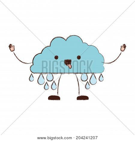 cloud with raindrops kawaii caricature in blurred color silhouette vector illustration