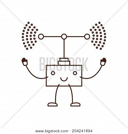 transmission antenna icon kawaii caricature in brown color contour vector illustration