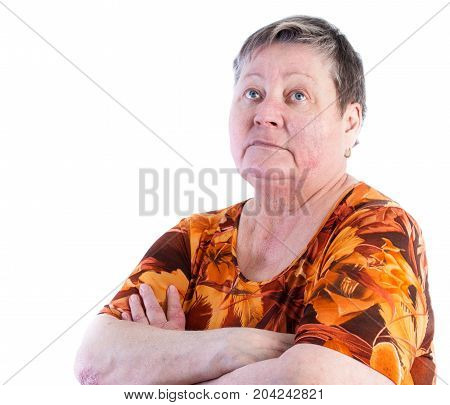 Bored Senior Woman Is Looking Up, Isolated, White Background; Psoriasis On Right Elbow