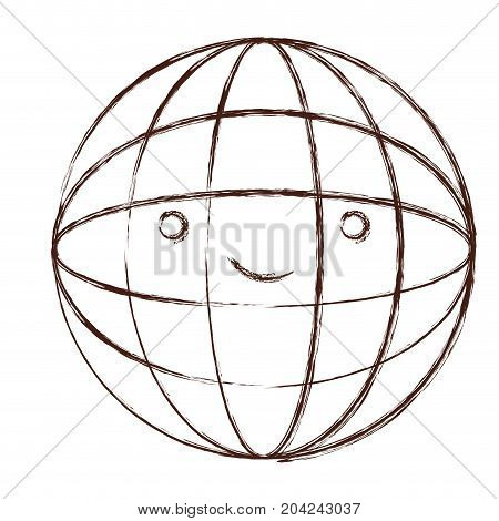 globe world kawaii caricature in blurred brown color contour vector illustration