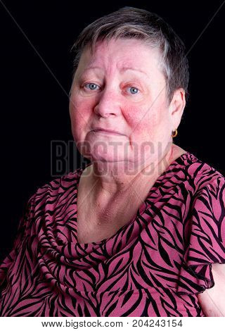 Unhappy, Sad Senior Woman, Isolated Studio Portrait