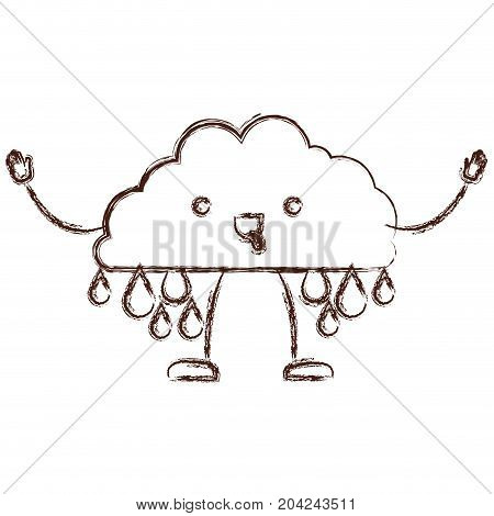 cloud with raindrops kawaii caricature in blurred brown color contour vector illustration