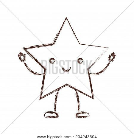 star kawaii caricature in blurred brown color contour vector illustration
