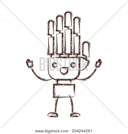 robotic hand kawaii caricature with open arms standing in blurred brown color contour vector illustration