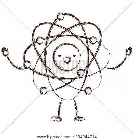 atom kawaii caricature with open arms standing in blurred brown color contour vector illustration
