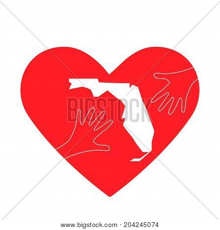 Vector Illustration: helping hands, heart and Florida map silhouette. Great as donate, love or helping hand icon. Support for volunteering work and relief after Hurricane, floods, landfalls in Florida