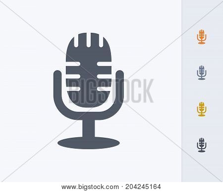 Radio Microphone - Carbon Icons. A professional, pixel-perfect icon designed on a 32x32 pixel grid and redesigned on a 16x16 pixel grid for very small sizes.