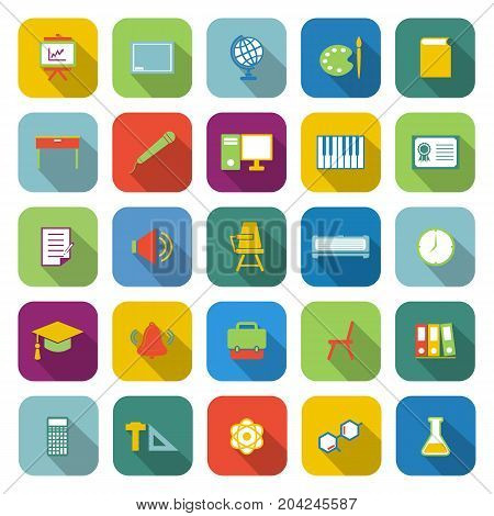 Classroom color icons with long shadow, stock vector