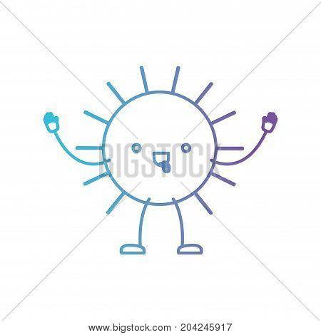 sun kawaii caricature in color gradient silhouette from purple to blue vector illustration