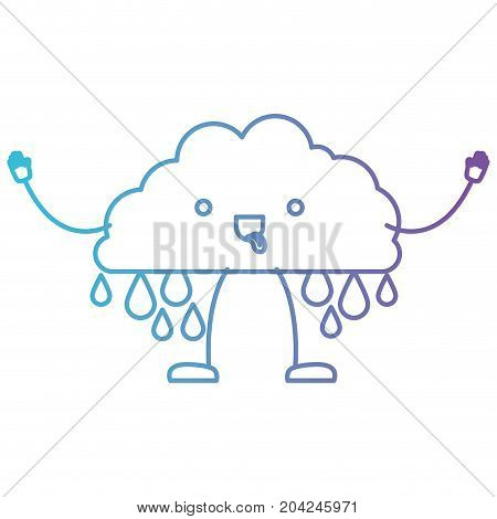 cloud with raindrops kawaii caricature in color gradient silhouette from purple to blue vector illustration