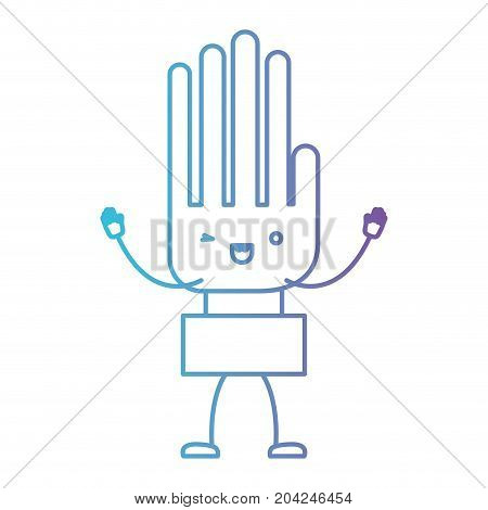 hand kawaii caricature with open arms standing in color gradient silhouette from purple to blue vector illustration