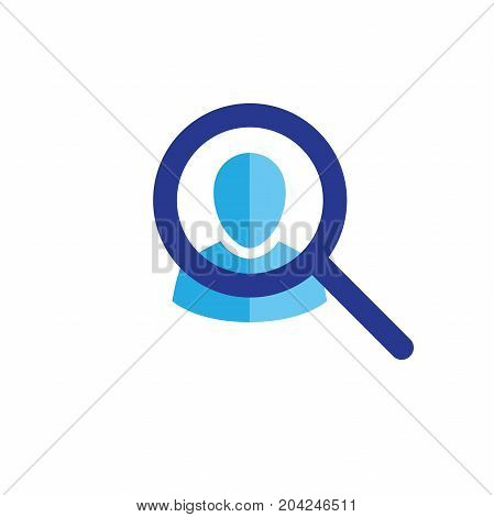 Target Market Icon With People & Magnifying Glass
