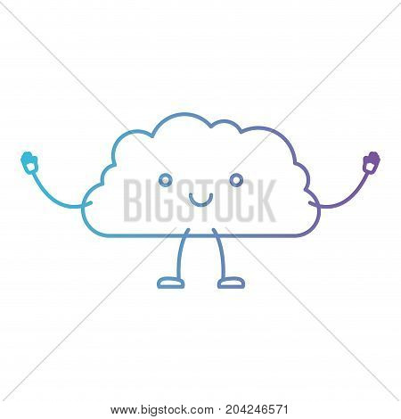 cloud kawaii caricature with open arms standing in color gradient silhouette from purple to blue vector illustration