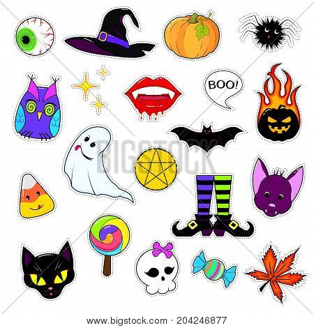 A set of cute Halloween attributes. Halloween stickers design. patch icons pumpkin hat reduced bat black cat and other holiday elements isolated on white background