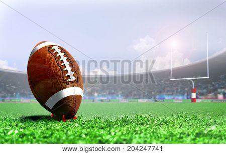 American football penalty kick under bright sunlight