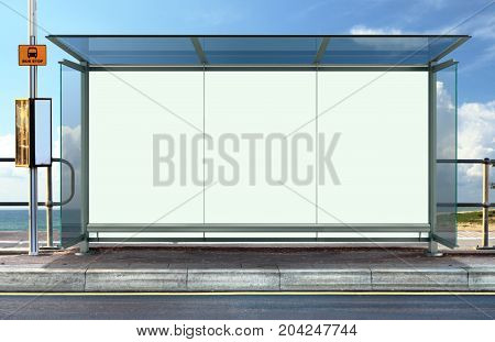 Bus stop with blank white advertising board
