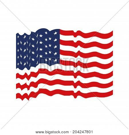flag united states of america with several wave colorful icon on white background vector illustration