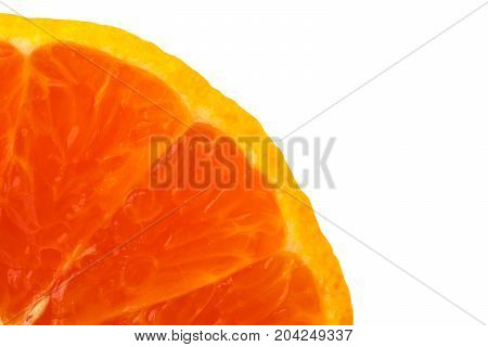 A quarter of fresh juicy orange fruit slice isolated on white background with copy space for text. Natural vitamin C antioxidant concept.