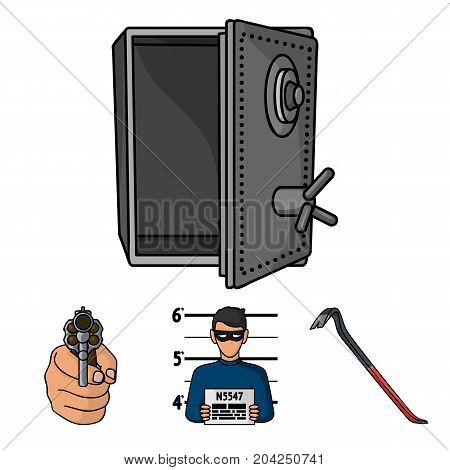 Photo of criminal, scrap, open safe, directional gun.Crime set collection icons in cartoon style vector symbol stock illustration .