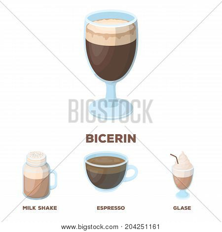 Esprecco, glase, milk shake, bicerin.Different types of coffee set collection icons in cartoon style vector symbol stock illustration .