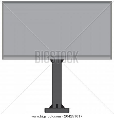 Stationary billboard with one support. Vector illustration.