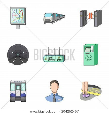 Machine, means, movement and other  icon in cartoon style.Transport, public, machinery, icons in set collection.