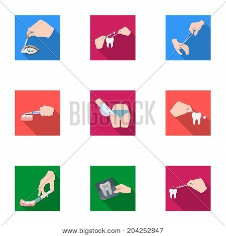 Anesthetic injection, examination of the tooth and other  icon in flat style. wound treatment, vision check icons in set collection.
