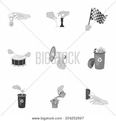 Musical instrument, garbage and ecology, electric appliance and other  icon in monochrome style. Megaphone, finishing checkered flag, gesture and manipulation with hands icons in set collection.