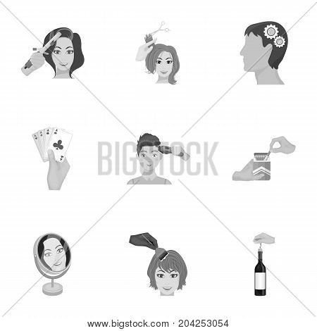 Darts, mirror with reflection, cigar in an ashtray, a bottle of champagne and other  icon in monochrome style. Combination of cards in hand, a bottle of wine and a glass, hair cutting, heeled shoes icons in set collection.
