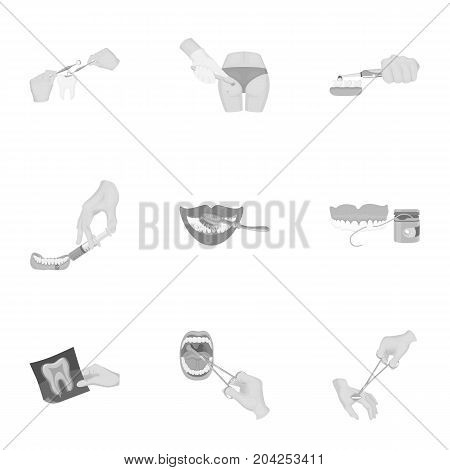 Anesthetic injection, examination of the tooth and other  icon in monochrome style. wound treatment, vision check icons in set collection.