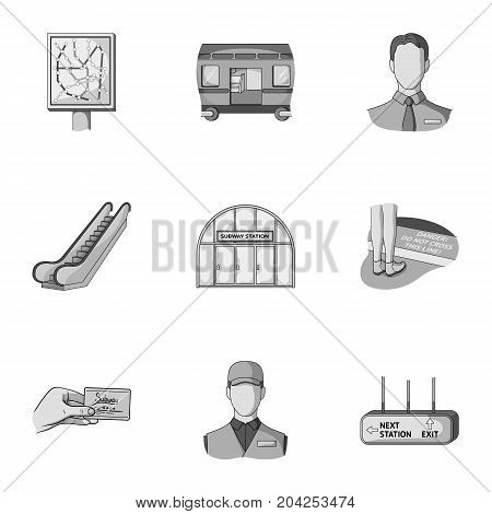 Machine, means, movement and other  icon in monochrome style.Transport, public, machinery, icons in set collection.
