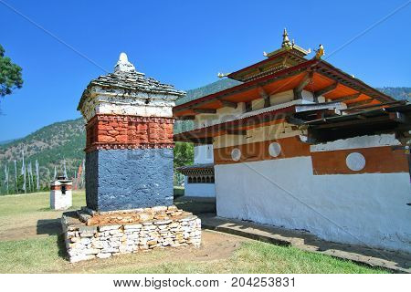 Chimi Lakhang or Chime Lhakhang temple Buddhist monastery in Punakha District Bhutan
