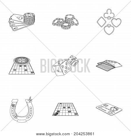 Hobby, player, debt and other  icon in outline style. Game, casino, entertainment, icons in set collection.