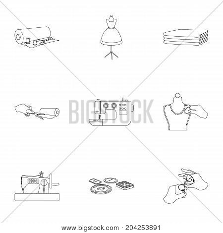 coil with thread, sewing machine, fabric and other equipment. Sewing and equipment set collection icons in outline style vector symbol stock illustration .